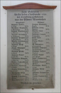 In der Pfarrkirche St. Martin hängt eine Erinnerungstafel mit den Namen der in der Christnacht von 1705 bei Sendling Gefallenen aus der Pfarrei Waakirchen.
