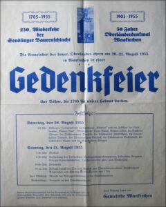 250. Wiederkehr der Sendlinger Bauernschlacht und 50jähriges Jubiläum des Oberländerdenkmals in Waakirchen
